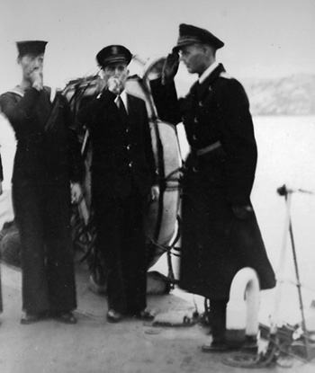 German officer piped aboard HMS Valorous