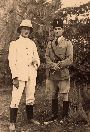 Lt Col;in Donald RN and Inspector Kramer, the Cief of Police at Zichron Jacob near Haifa, Palestine, 1929