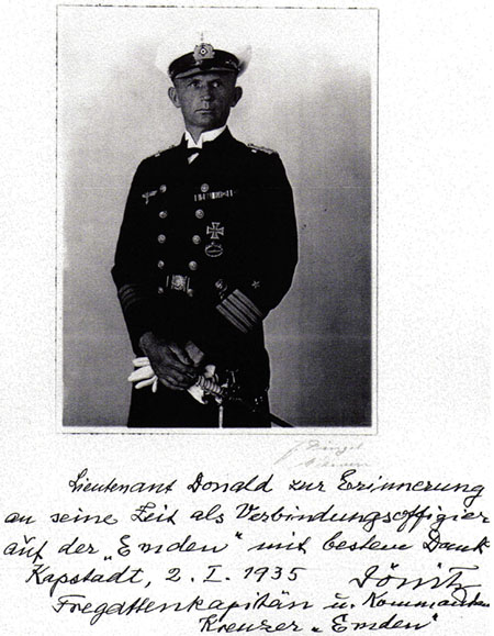 Doenitz, enscribed and signed photograph presented to Lt Colin G.W. Donald, 1935