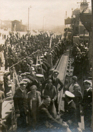 Welcome aboard - HMS Versatile at Riga, 1931