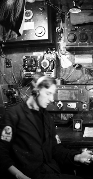Eric Pountney in Wireless Office on HMS Venomous