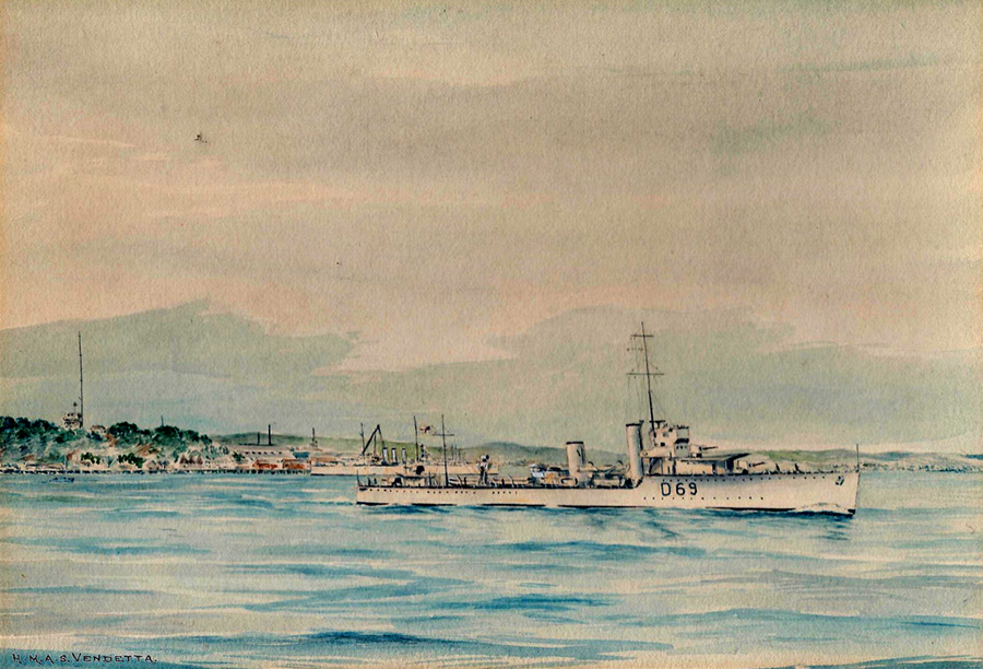 HMS Vendetta, V & W destroyer, D69; painted by Eric E.C. Tufnell in 1935