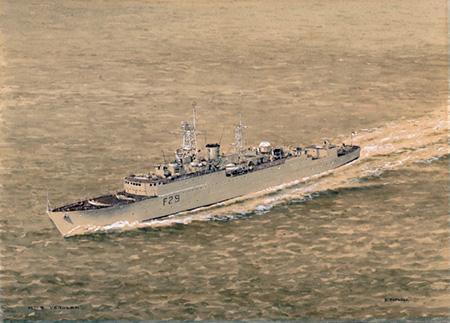 HMS Verulam (F29) painted by Eric Tufnell