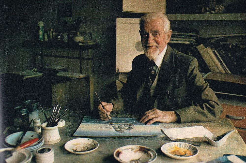 Eric Tufnell at home in his studio, c1975