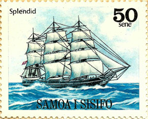 Splendid, a stamp from Samnoa based on a painting by Eric Tufnell (1979)