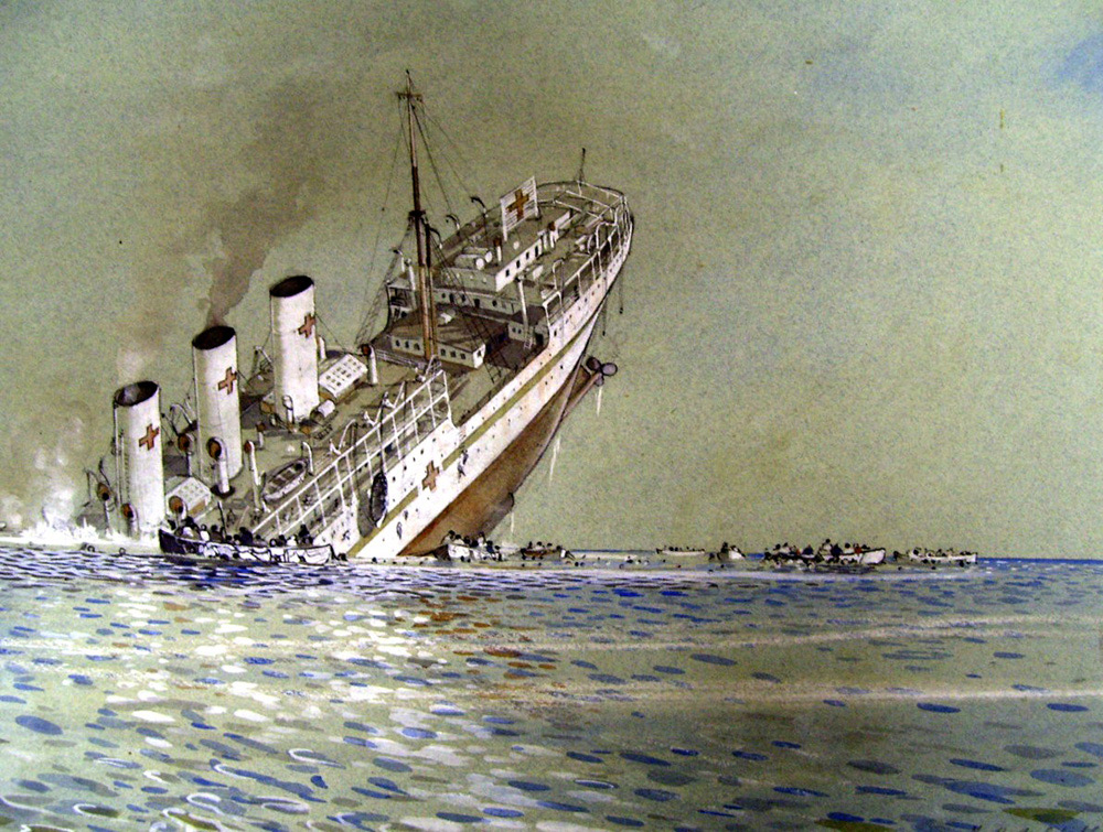 SS Talambo sinking off Sicily, 1943; painted by Herbert H McWilliams, South African war artist