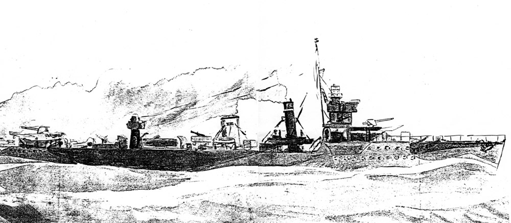 Sketch of HMS VEnomous by Lt H.H. McWilliams