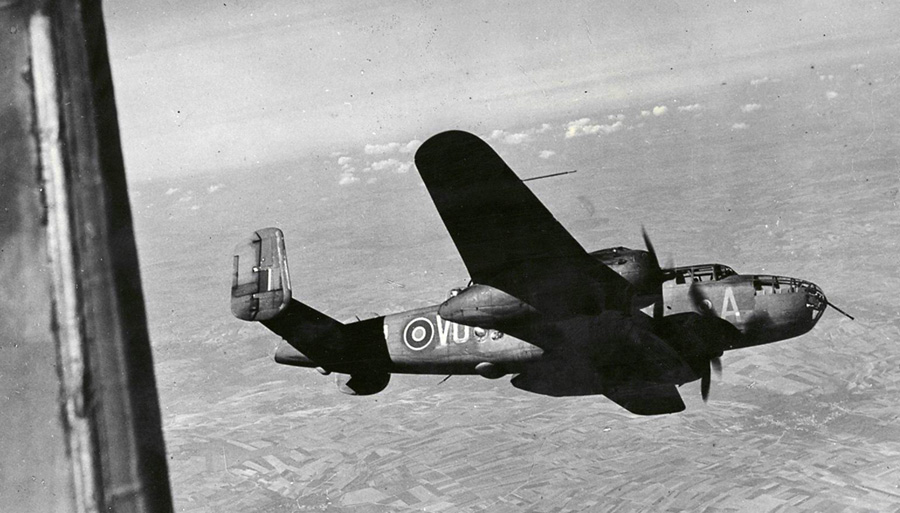 Mitchell bomber over Francxem, 1943