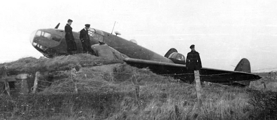 Jo's Hudson bomber crash landed at RAF Silloth, 1942