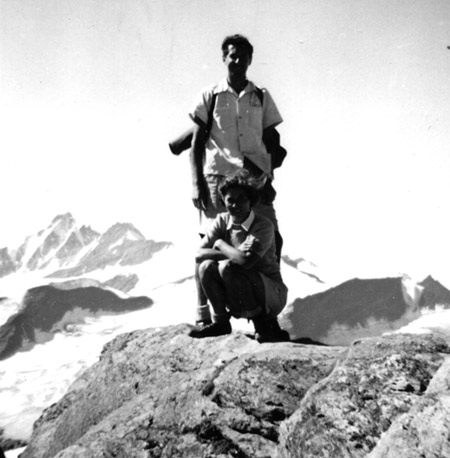 Karel Dahmen and wife on the summit of thed Kitzstein Horn, Austria, 1952.