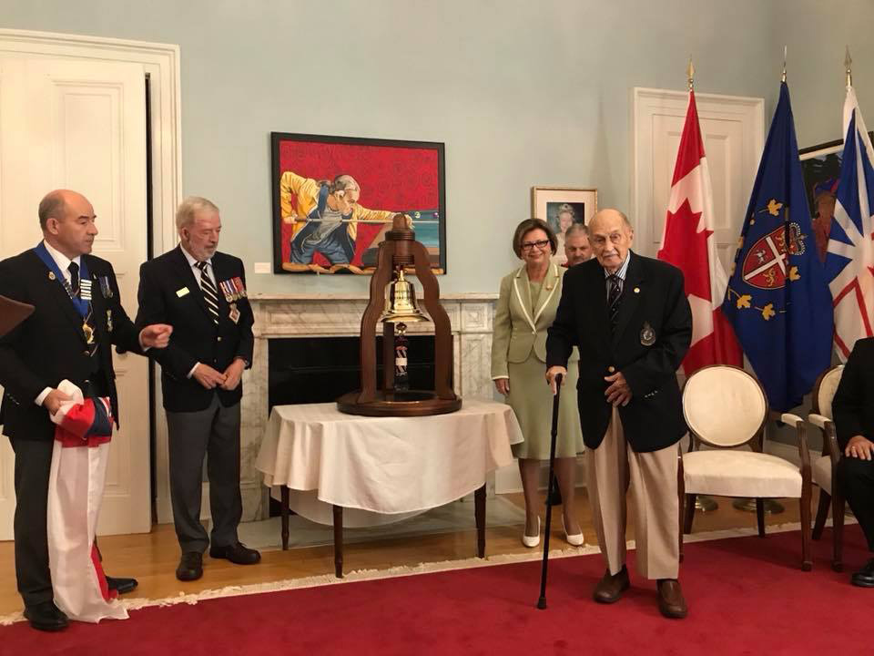 Presenting the bell to the Lieutenant Governor